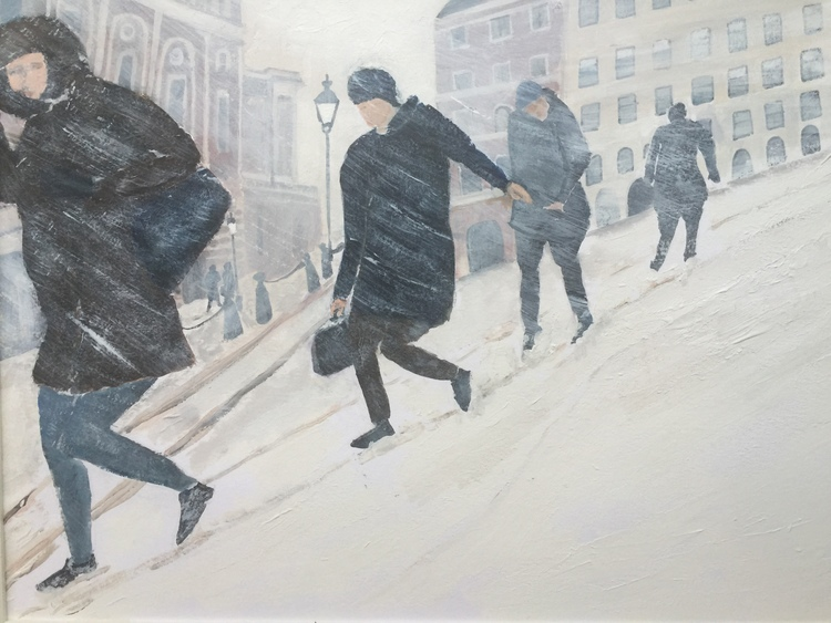 'Snöoväder i stan', 2016, ett konstverk av Anders Gabrielsson