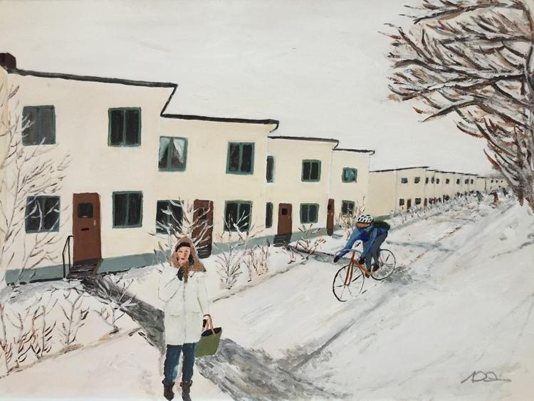 'Vinter på Ålstensgatan', 2018, ett konstverk av Anders Gabrielsson