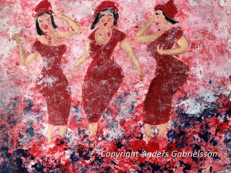 'Röda klänningar', 2018, ett konstverk av Anders Gabrielsson