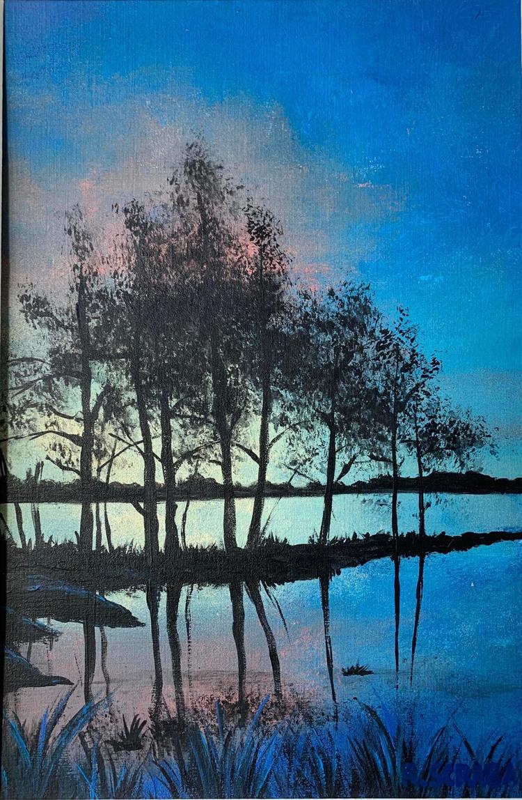 'Sunset near the lake', 2020, ett konstverk av Roxana Scraba