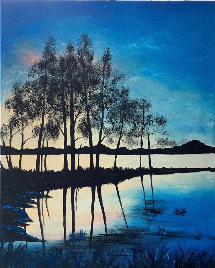 'Sunset near the lake 2', 2020, ett konstverk av Roxana Scraba