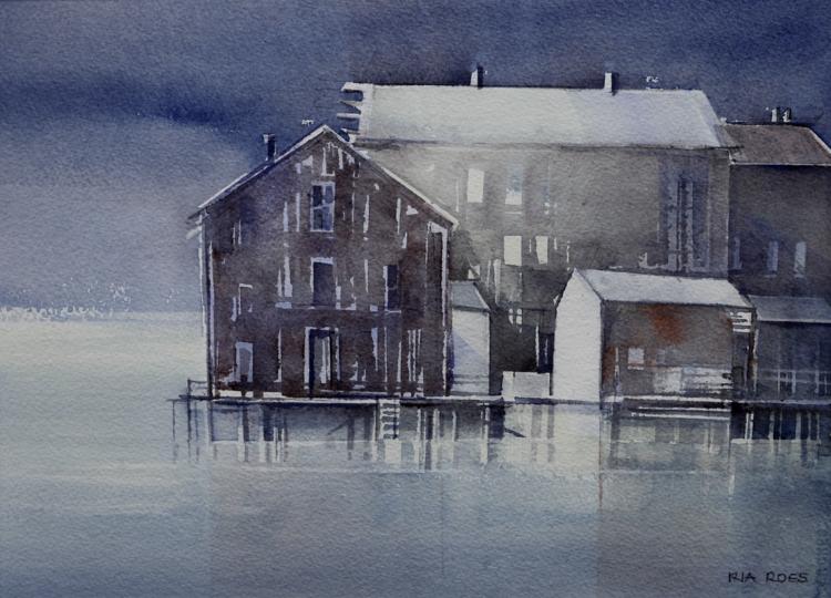 'Samling vid hamnen', 2019, ett konstverk av Ria Roes Schwartz