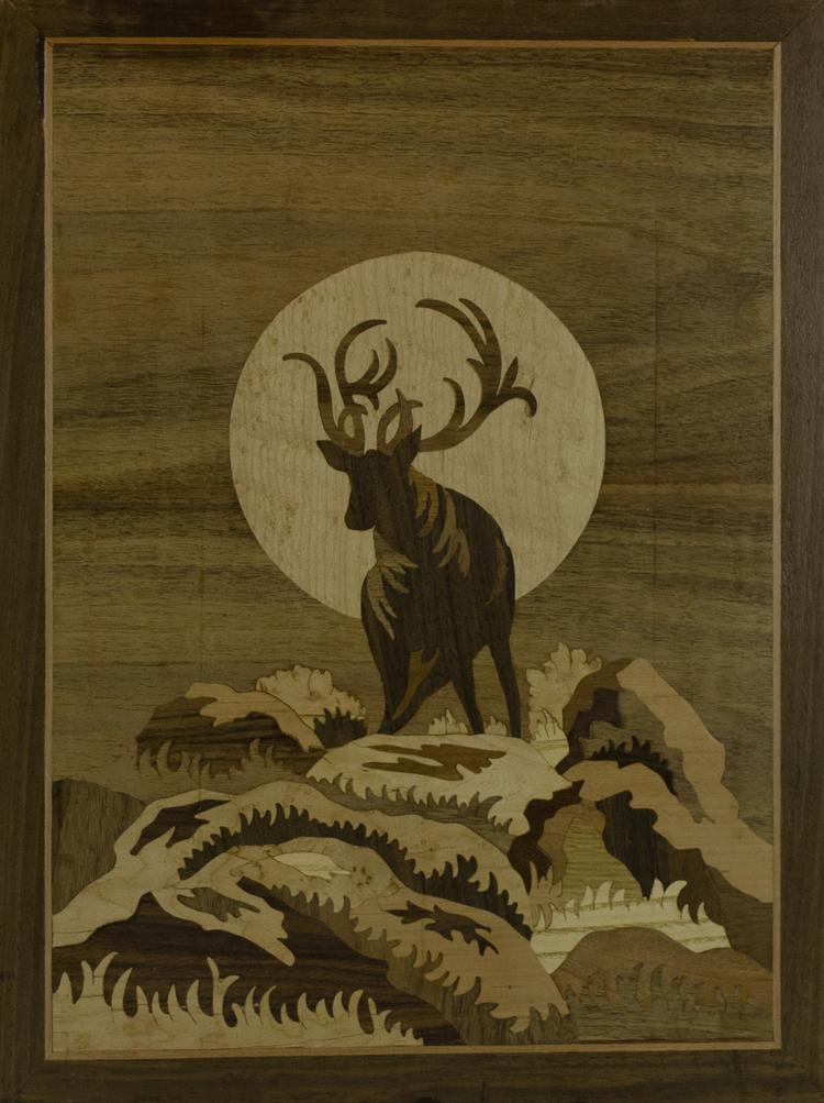 'Hjort vid midnatten', 2019, ett konstverk av Oubiada Mualem\ Lindekosnt