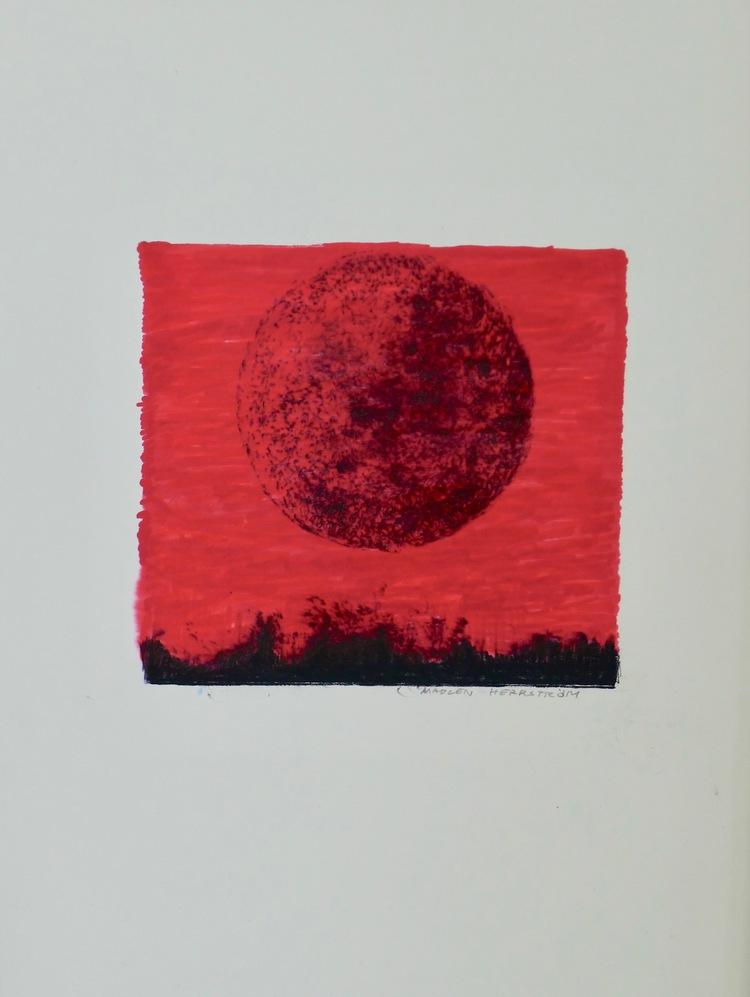 'Red night', 2019, ett konstverk av Madlen Herrström