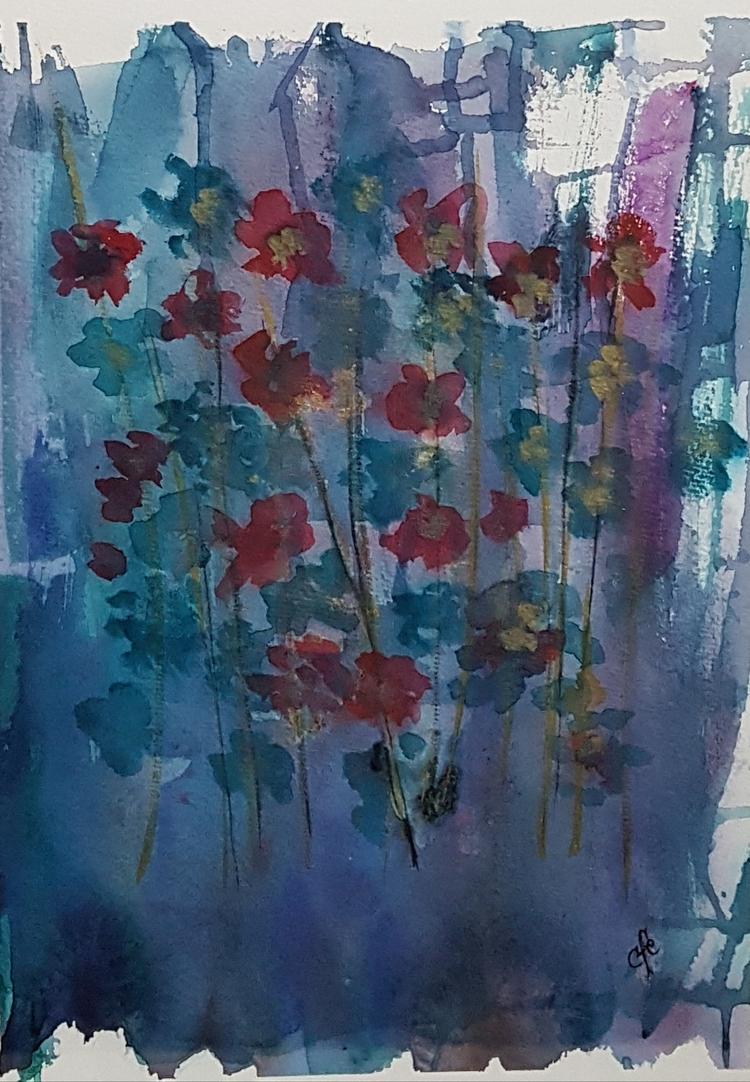 'Blomster på blomsteräng', 2017, ett konstverk av Christine Foss Eriksson