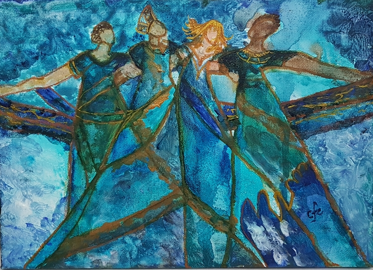 'Dansande damer', 2018, ett konstverk av Christine Foss Eriksson
