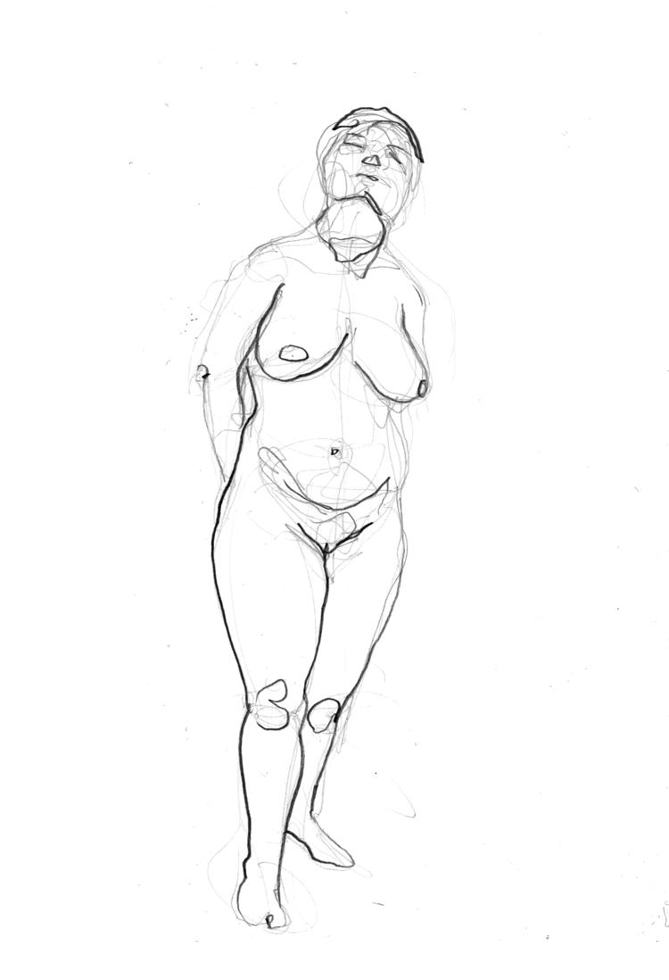 'Young woman, standing, no. 1', 2018, ett konstverk av Cecilia Klementsson