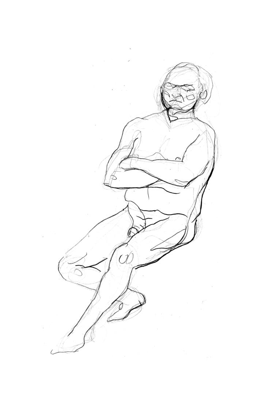 'Old man, reclining, no. 1 ', 2018, ett konstverk av Cecilia Klementsson