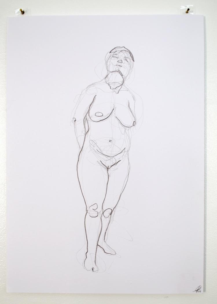 'Young woman, standing, no. 1', 2018, ett konstverk av Cecilia Ulfsdotter Klementsson