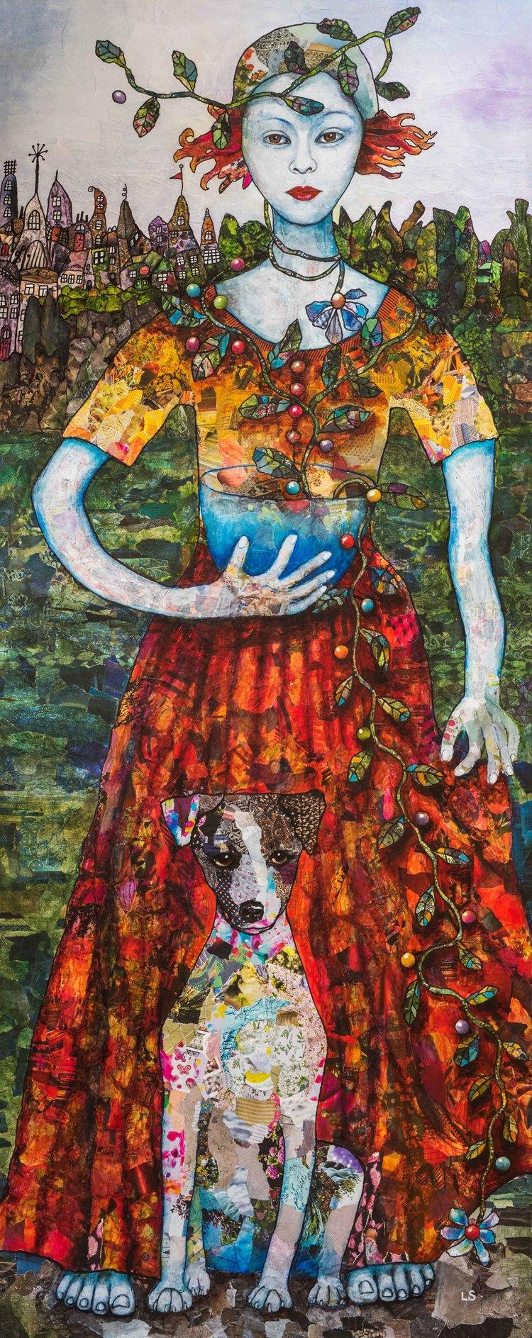 'Girl and farmdog', 2017, ett konstverk av Lena Svedjeholm