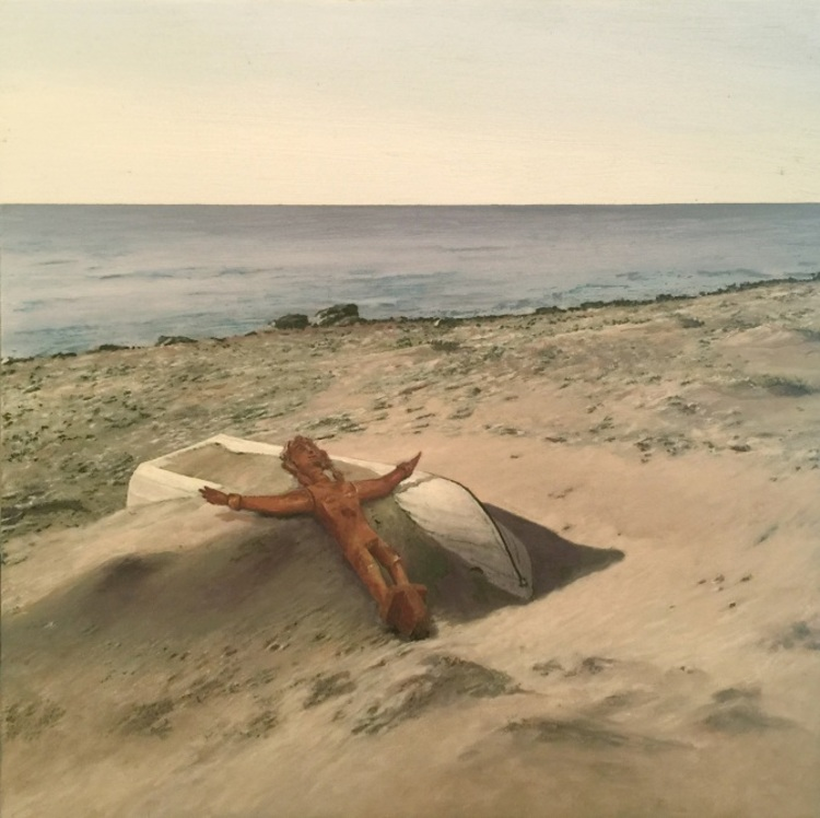 'Beach Jesus', 2018, ett konstverk av Per-Ivar Lindekrantz