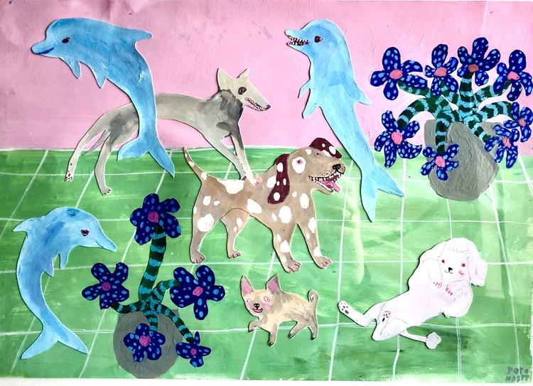 'Hundar och delfiner', 2020, ett konstverk av Yoyo Nasty