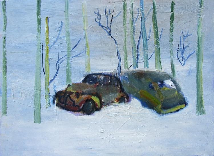 'Bilkyrkogård', 2019, ett konstverk av Henrik Olsson