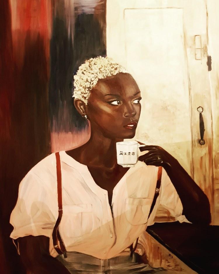 'Quarantine. Waiting for this to end. Sipping my coffee ', 2020, ett konstverk av Annamaria Johansson