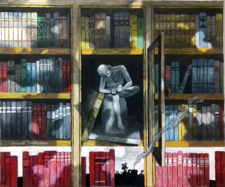 'Den underliga bokhyllan', 2018, ett konstverk av Svante Trottestam