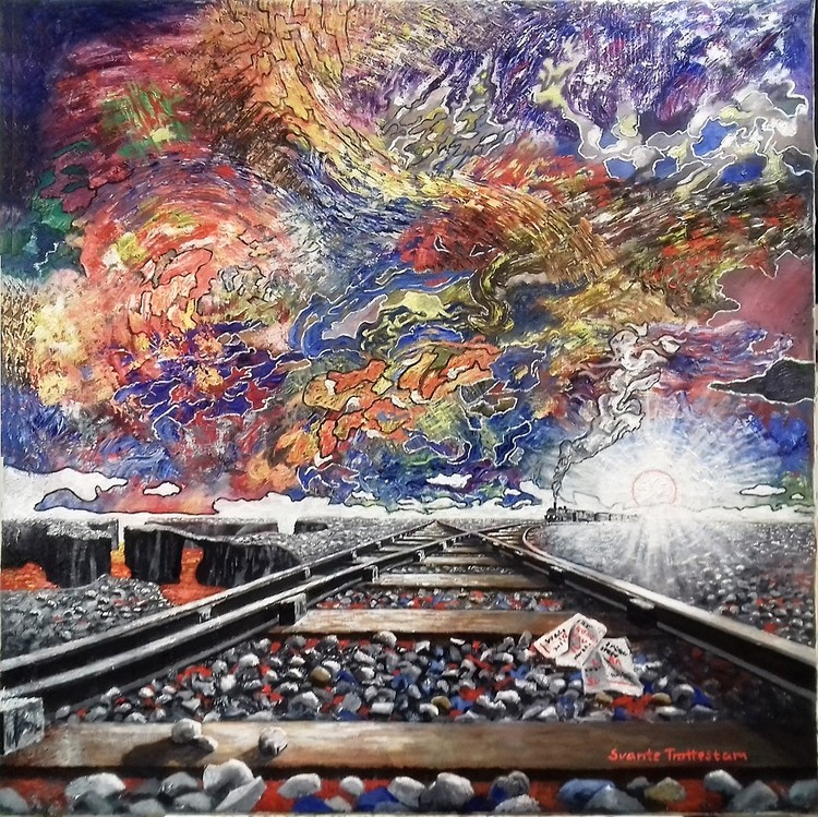 'Tåget kommer', 2020, ett konstverk av Svante Trottestam