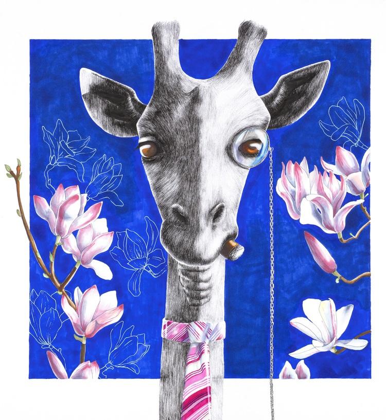 'Med ett öga på magnolian', 2018, ett konstverk av Sara W Nelin