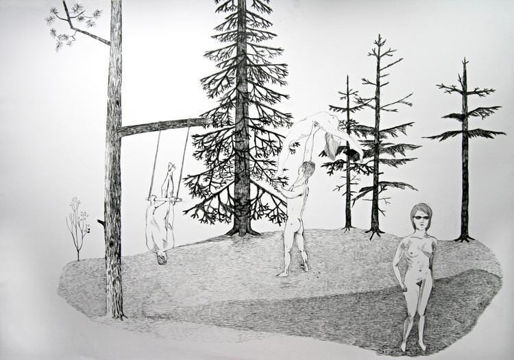 'Nudisterna', 2013, ett konstverk av Lisa Stålspets