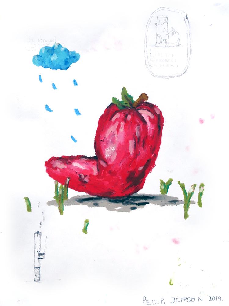 'The chilli likes it rainy but I don´t know', 2019, ett konstverk av Peter Jeppson