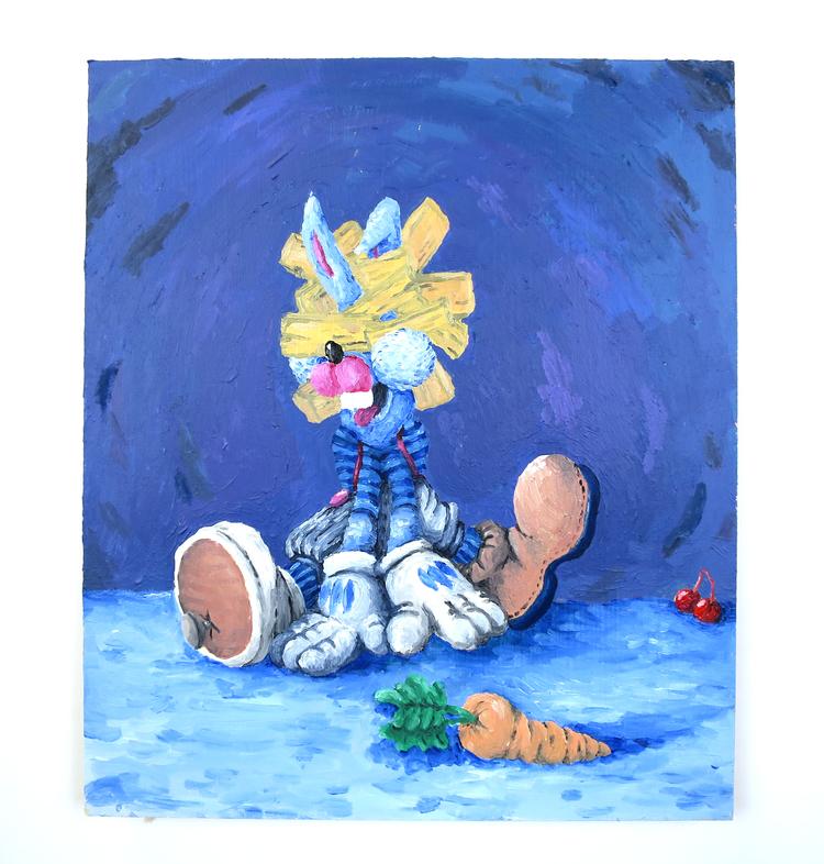 'A bunny with cherries?', 2018, ett konstverk av Peter Jeppson