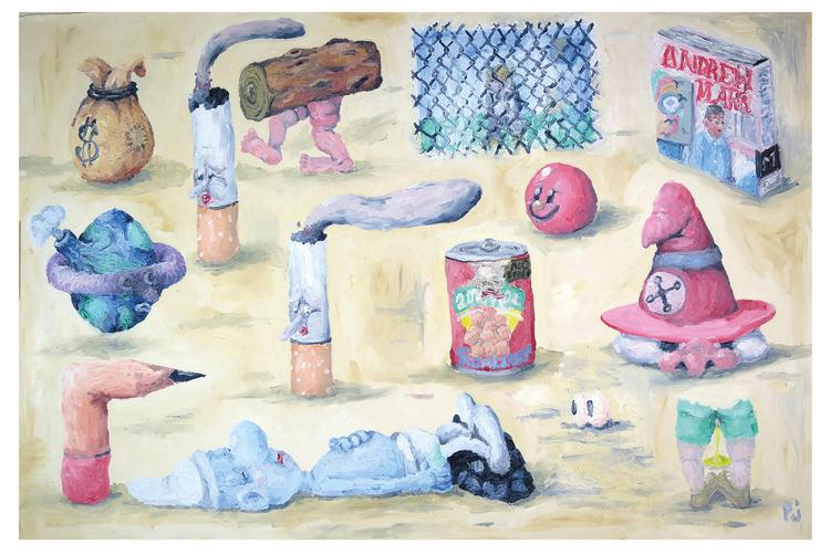 'Lazy Smurf', 2019, ett konstverk av Peter Jeppson
