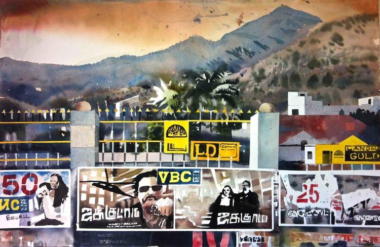 ' Cinema posters in Thiruvannamalai', 2015, ett konstverk av Erik Hårdstedt
