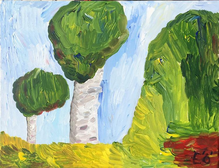 'Två träd och kulle', 2019, ett konstverk av Emil Östlund