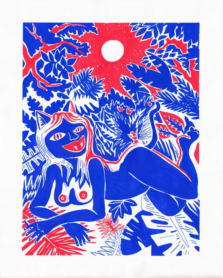 'Vildkatt', 2018, ett konstverk av Olivia Ekelund