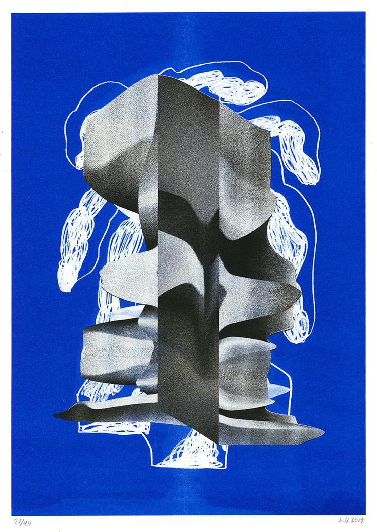 'Composition on blue', 2019, ett konstverk av Linn Henrichson