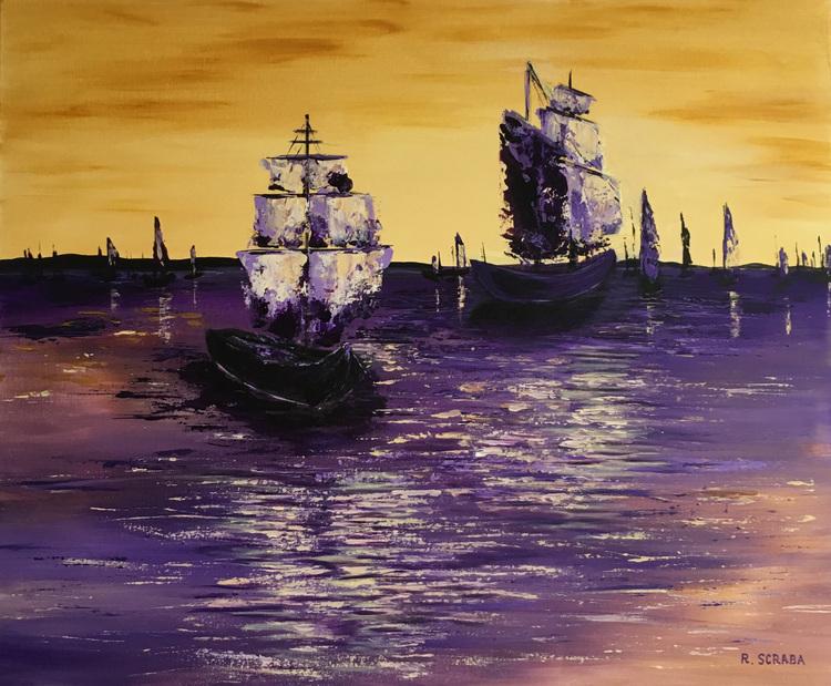 'Boats in the sunset', 2017, ett konstverk av Roxana Scraba
