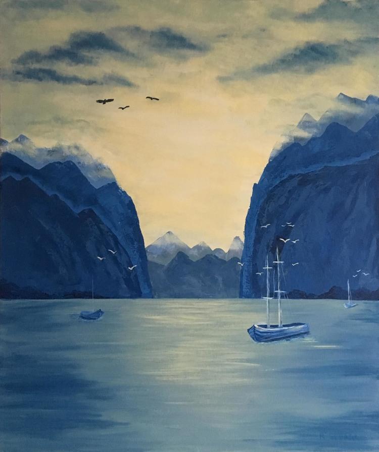 'Lofoten fjord', 2017, ett konstverk av Roxana Scraba