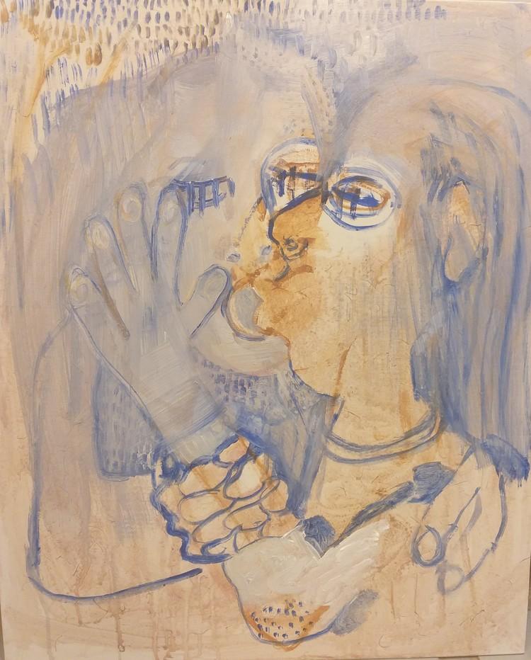 'Blue kiss', 2019, ett konstverk av Jeanette Fyhr