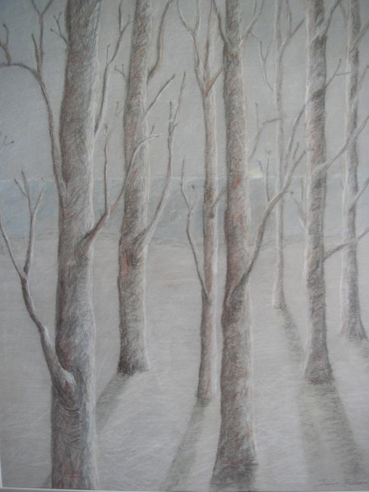 ' Träd i vår och vinterskrud', 2020, ett konstverk av Iréne Hansson