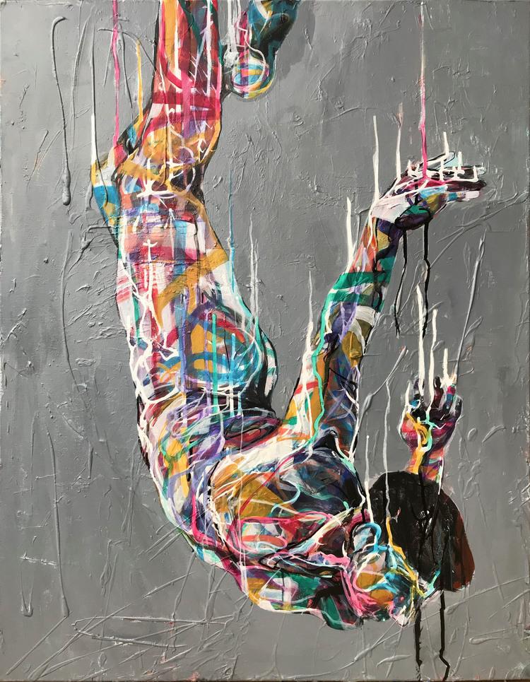 'Falling', 2019, ett konstverk av Kicki Edgren