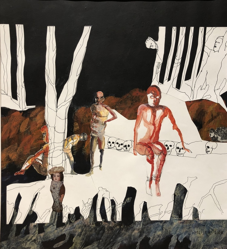'Dam i vit hatt', 2003, ett konstverk av Sture Meijer