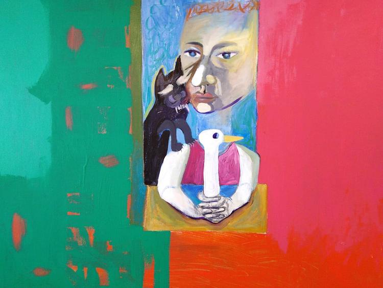 'Katt, anka - Anka, katt', 2020, ett konstverk av Gertrud Alfredsson