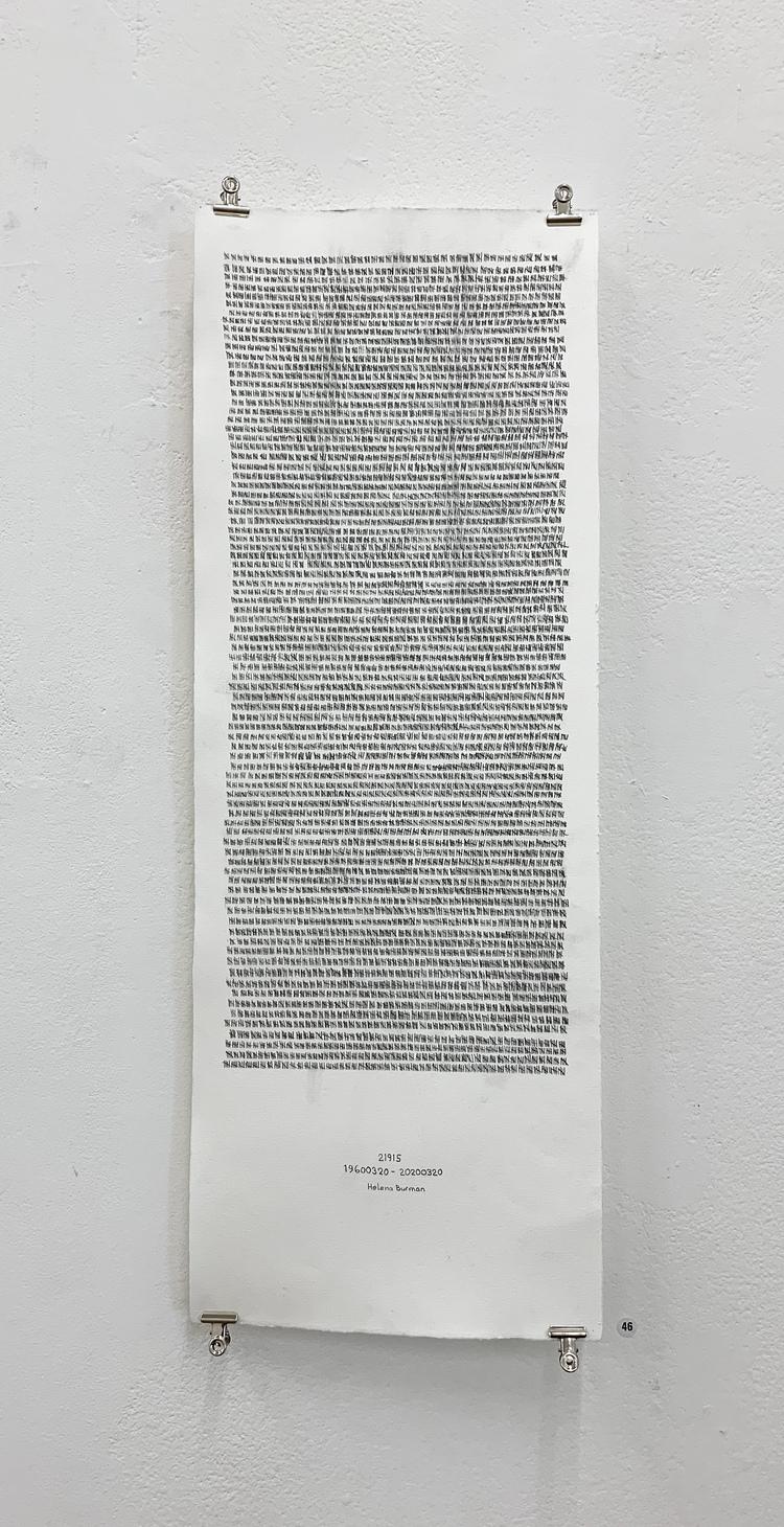 'Alla mina dagar', 2020, ett konstverk av Helena Burman